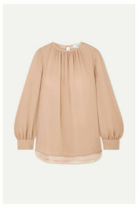 Max Mara - Layered Silk Crepe De Chine And Chiffon Blouse - Neutral