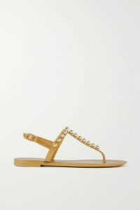 STAUD - Rocky Embellished Ribbed Cotton Turtleneck Top - Light green