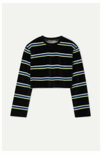 alexanderwang.t - Cropped Striped Cotton-blend Velour Top - Black
