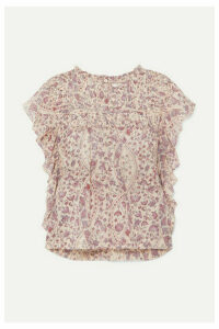Isabel Marant Étoile - Layona Ruffled Pintucked Floral-print Cotton-voile Blouse - Ecru