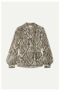 L'Agence - Cara Snake-print Silk Crepe De Chine Wrap Blouse - Snake print