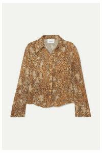 Nanushka - Alena Snake-print Crinkled-voile Shirt - Brown