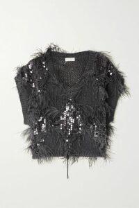 Ulla Johnson - Aisha Embellished Embroidered Linen And Cotton-blend Midi Skirt - Black