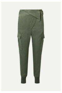 3.1 Phillip Lim - Fold-over Satin Tapered Pants - Gray green