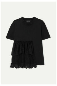 Simone Rocha - Embellished Ruffled Lace And Tulle-trimmed Cotton-jersey T-shirt - Black