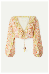 Zimmermann - Goldie Cropped Ruffled Floral-print Linen Top - Pink