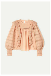 Ulla Johnson - Lily Ruffled Crochet-trimmed Cotton-voile Blouse - Blush