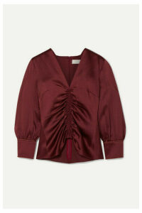 Peter Pilotto - Ruched Satin Blouse - Burgundy