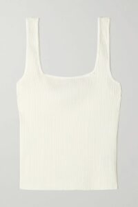Solid & Striped - Off-the-shoulder Cropped Gingham Seersucker Top - Black
