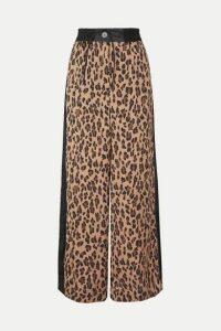 Sacai - Leopard-print Satin And Chiffon Wide-leg Pants - Beige