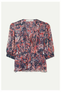 IRO - Saola Wrap-effect Metallic Printed Crepon Blouse - Pink