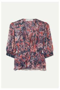 IRO - Saola Wrap-effect Metallic Printed Crepon Blouse - Pink