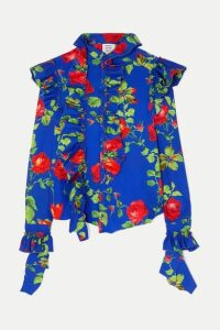 Vetements - Ruffled Floral-print Crepe Blouse - Blue