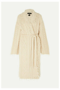 Alanui - Lapponia Fringed Cable-knit Cashmere And Wool-blend Cardigan - Cream