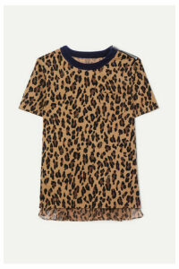 Sacai - Leopard-print Cotton-corduroy And Crepe T-shirt - Beige