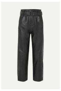 MM6 Maison Margiela - Belted Leather Straight-leg Pants - Black