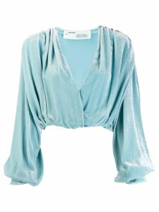 Off-White draped velvet blouse - Blue