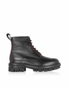 DSquared2 Designer Shoes, Signature Black Leather Combat Boots