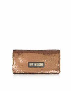 Love Moschino Designer Handbags, Rose Gold Sequins Clutch w/ Chain Straps
