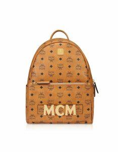 MCM Designer Handbags, Cognac Trilogie Stark Small/Medium Backpack