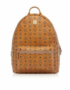 MCM Designer Handbags, Cognac Visetos Stark 47 Backpack w/Side Studs