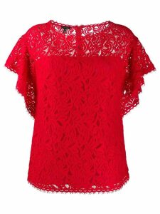 Escada lace ruffle-sleeve blouse - Red