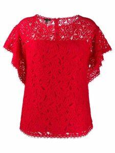 Escada lace ruffle-sleeve blouse - Red