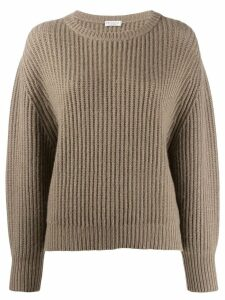 Brunello Cucinelli ribbed knit jumper - Brown