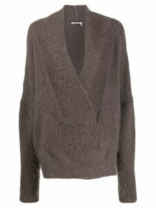 Agnona oversized v-neck sweater - Brown