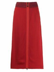 Fendi side embroidered midi skirt