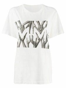 Mm6 Maison Margiela logo hand print T-shirt - White