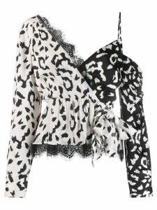 Self-Portrait leopard print wrap top - NEUTRALS