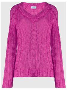 Prada v-neck chunky knit jumper - PINK
