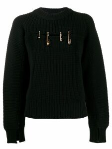 Versace safety pin rib jumper - Black