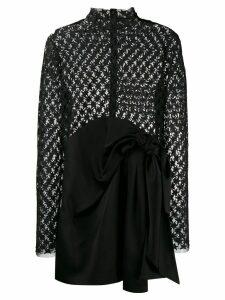 Saint Laurent star embroidered sheer mini dress - Black