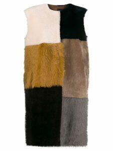 Liska colour-block sleeveless coat - Neutrals
