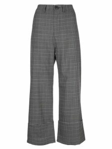 Sea checked wide-leg trousers - Brown