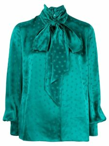 Attico star print satin blouse - Green