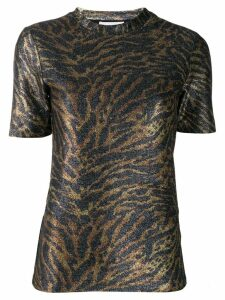 GANNI tiger print knitted top - GOLD