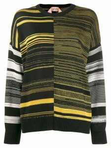 Nº21 striped pattern jumper - Black