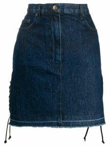 McQ Alexander McQueen drawstrings denim skirt - Blue