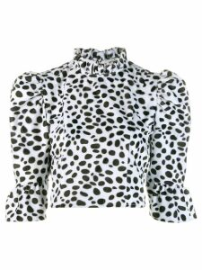 Batsheva dalmatian furry cropped blouse - Black