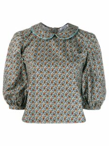 Batsheva floral cropped blouse - Blue