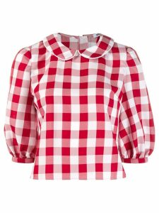 Batsheva gingham check cropped blouse - Red