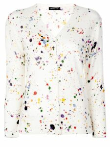 Samantha Sung Charlotte paint splash cardigan - White