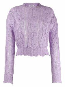 Acne Studios frayed cable knit sweater - Purple