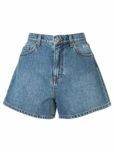 MSGM cat print denim shorts - Blue