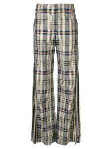 Monse side stripe plaid trousers - Grey