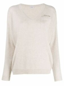 Brunello Cucinelli knit V-neck sweater - Neutrals
