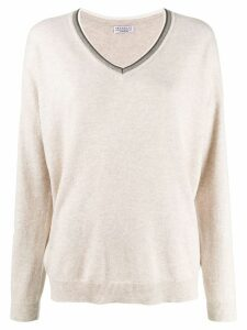 Brunello Cucinelli knit glitter V-neck sweater - NEUTRALS
